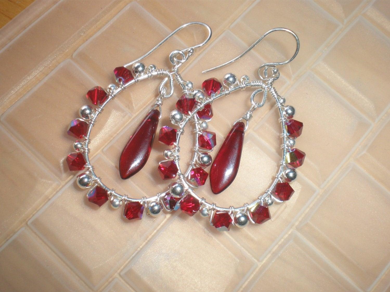 SALE Garnet Crystal Wrapped Hoop Earrings