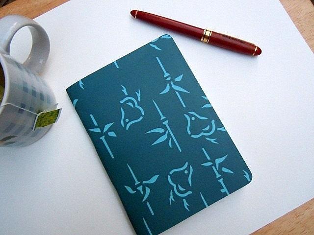 Dark Teal Notebook/Sketchbook/Journal with a quaint japanese bird pattern