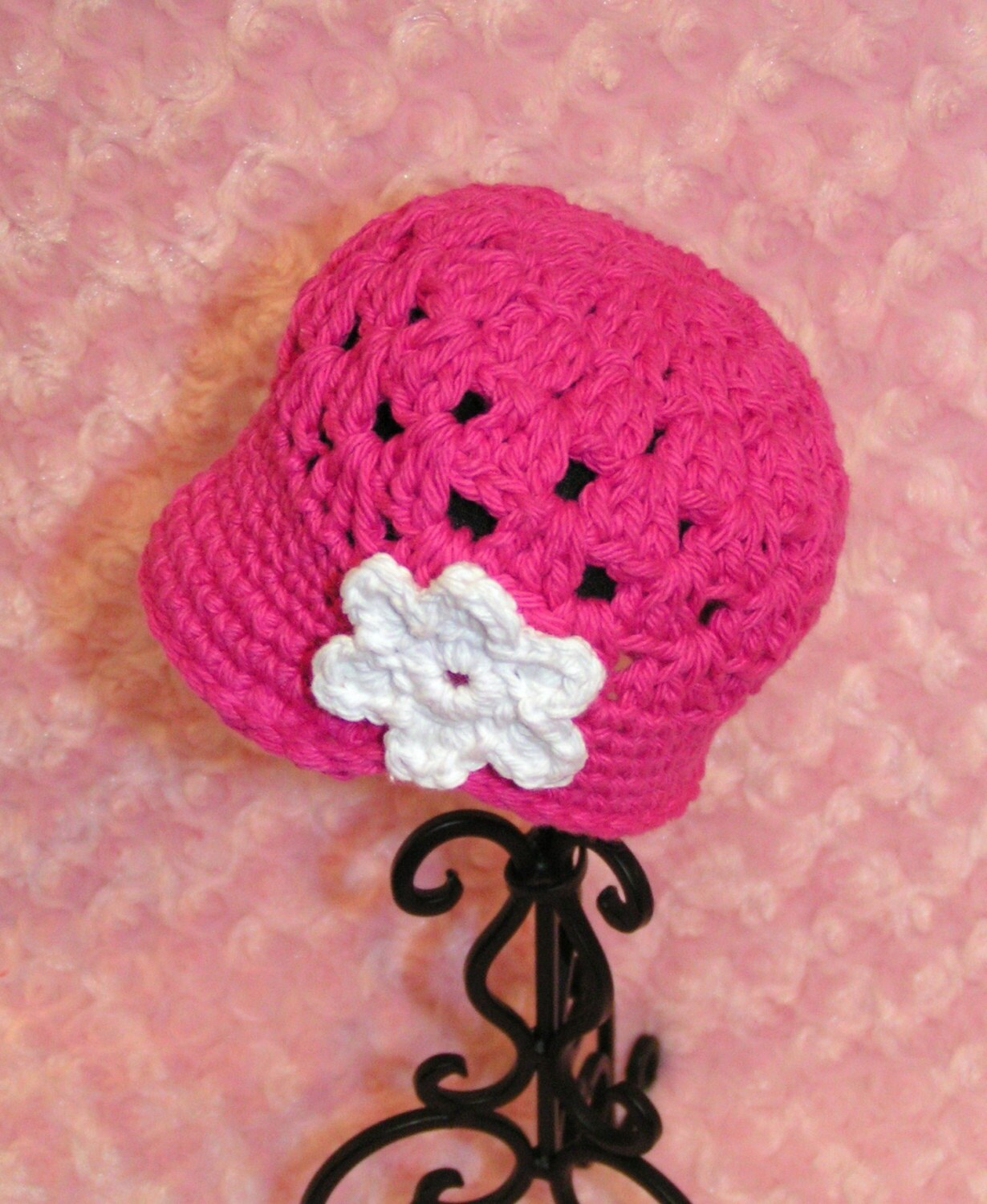 Hot Pink Preemie Newsboy Hat with Flower