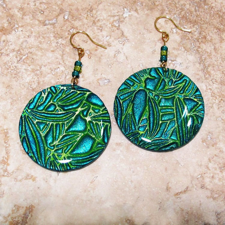 """Hand-painted Handmade Embossed """"Tropical Sea"""" Polymer Clay Iridescent Round Earrings by Maggie Day"""