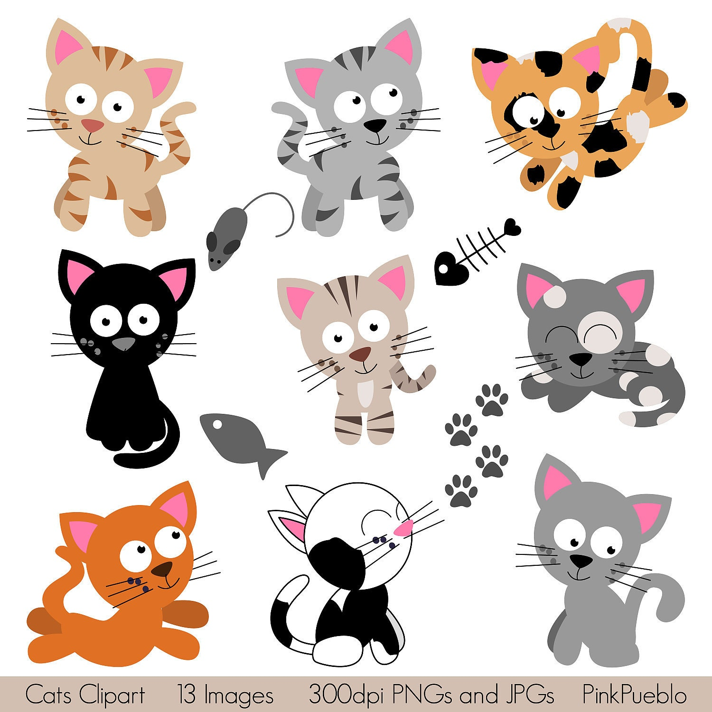 Cats Clipart Clip Art Kitten Clipart Clip Art by PinkPueblo