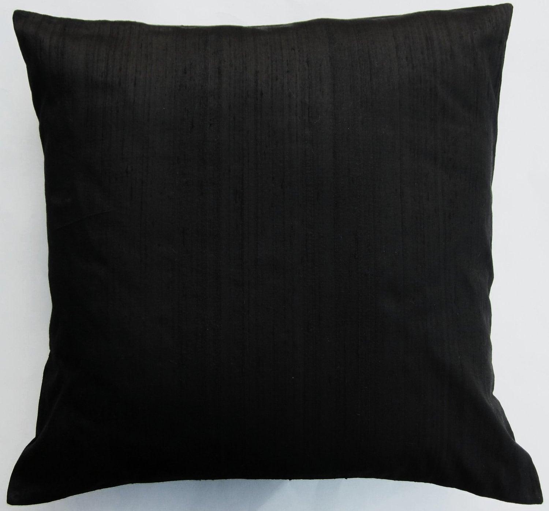 Black Pillow Cover Black Silk Throw Pillow Cover by sassypillows