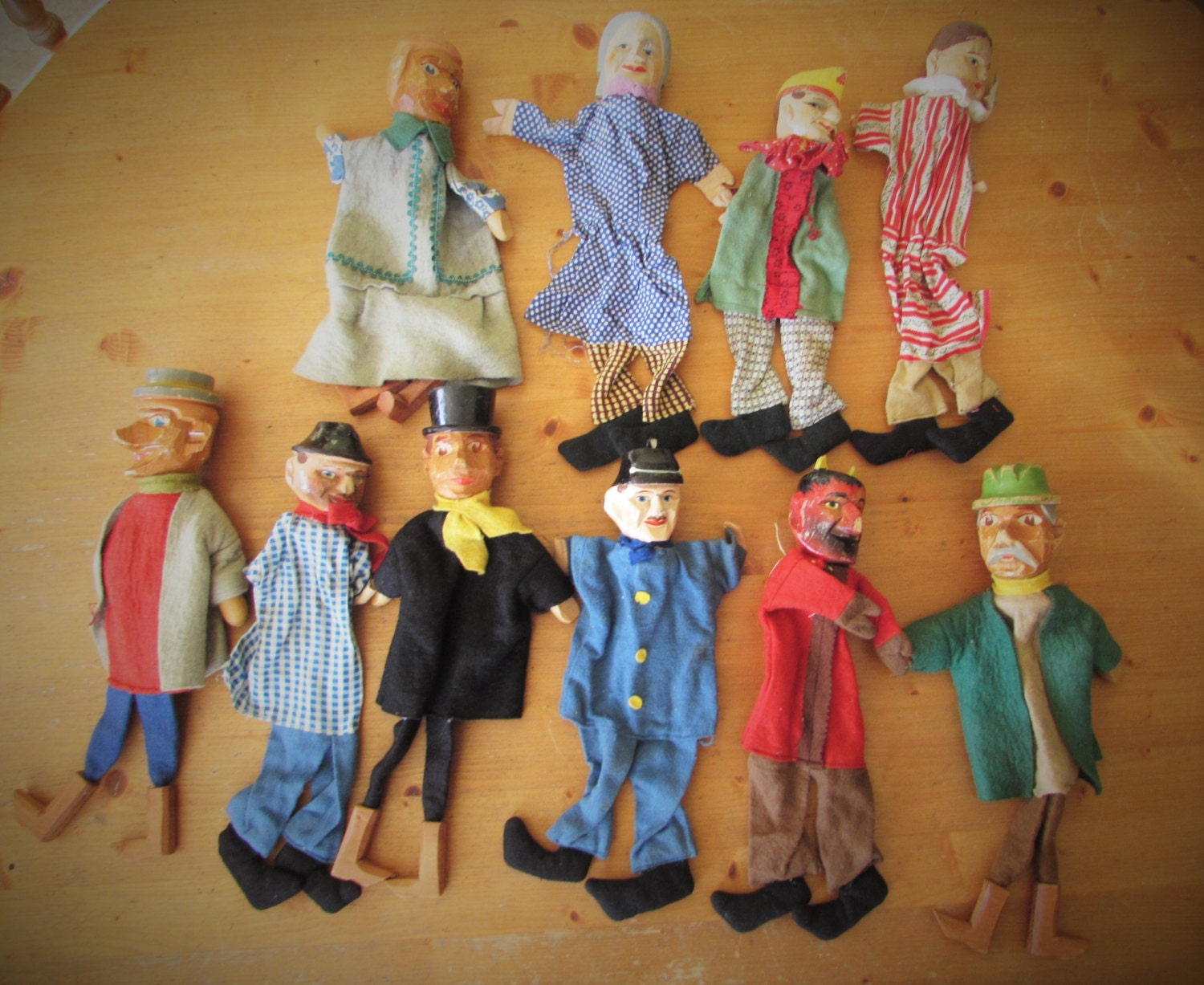 Very Rare Antique German Punch And Judy Wooden Hand Puppets  Made In Germany   MEMsArtShop.