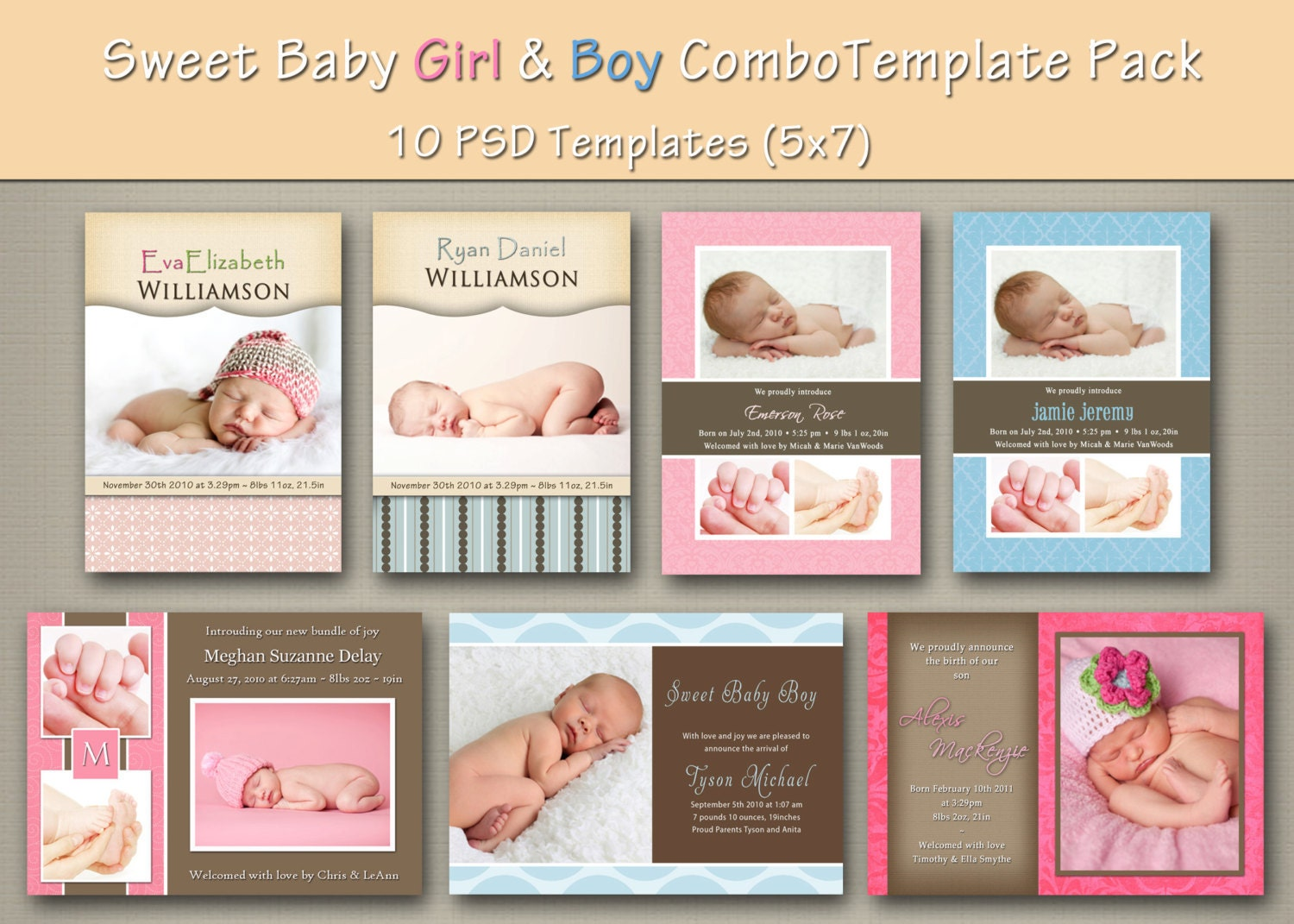free online birth announcements templates - instant download baby boy and girl birth by