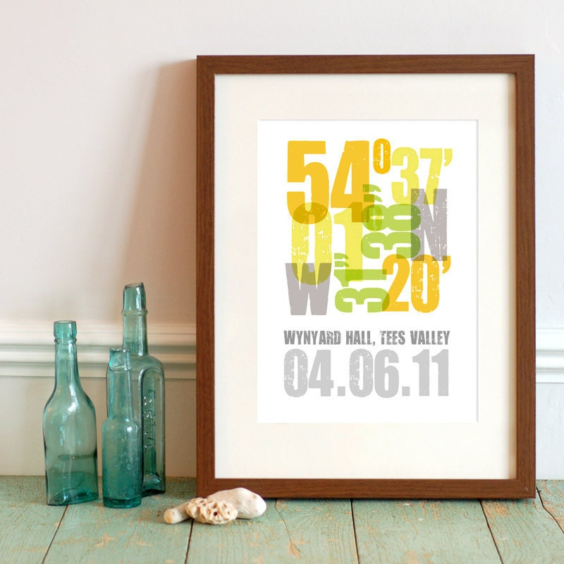 Personalised Wedding Gift Coordinates : A3 Personalized Coordinate Print Unique gift by thedriftingbear