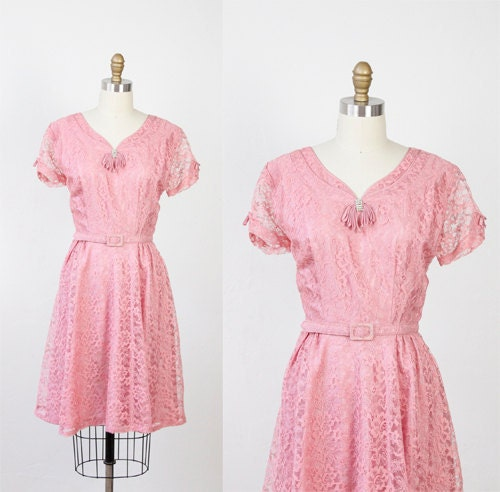 vintage bubblegum pink lace dress with belt and rhinestone tassel neckline