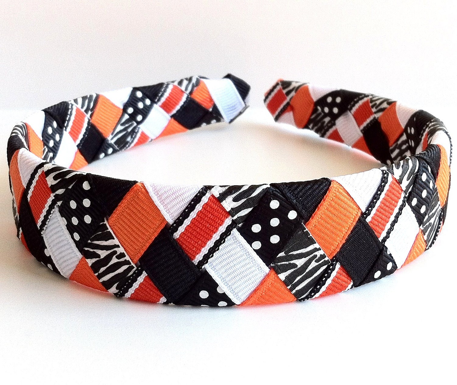 Headband Orange Black :  one inch wide made from 6 different grosgrain ribbon strands - LeahsLittleBowtique