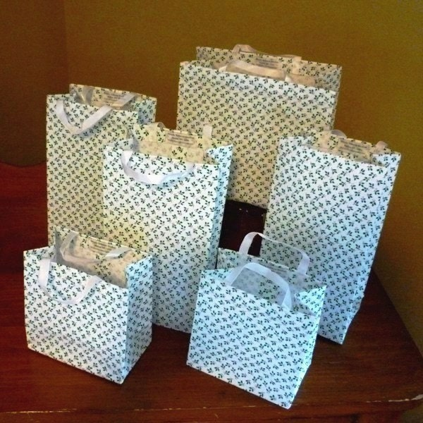 Holiday christmas fabric gift bags set by simplyrebeccastudios