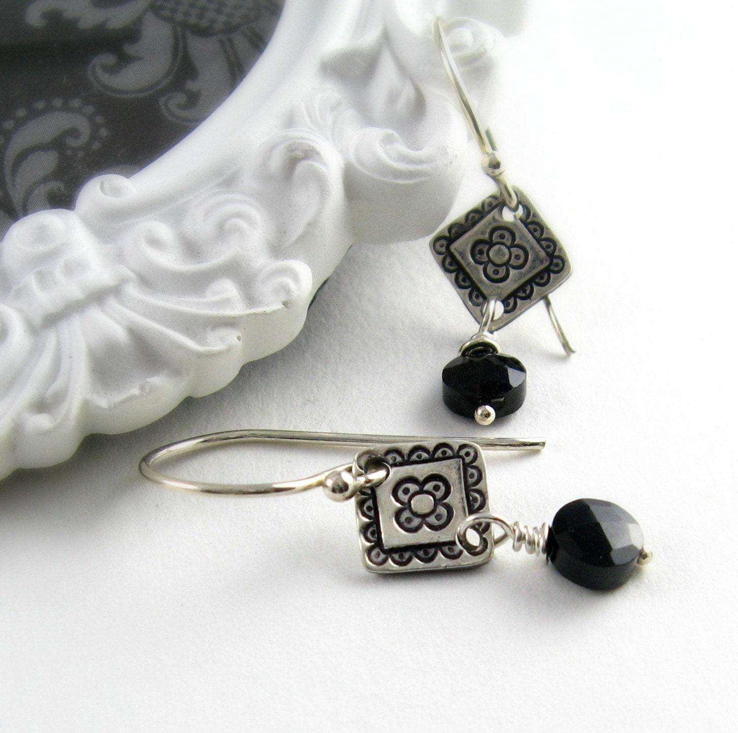 Handstamped Silver Earrings Black Gemstone Earrings Black Spinel Earrings Sterling Silver Earrings