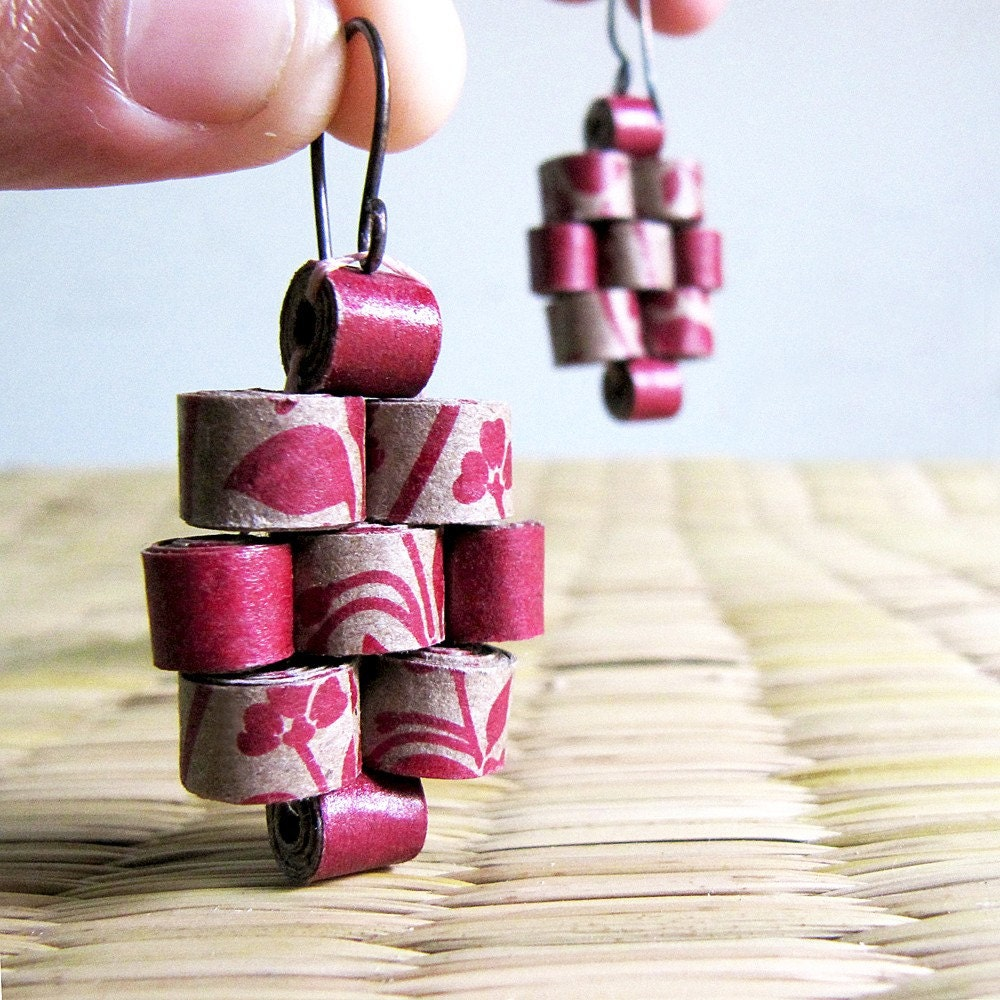 Recycled Paper Bag Peyote Earrings  - Camel Brown and Plum