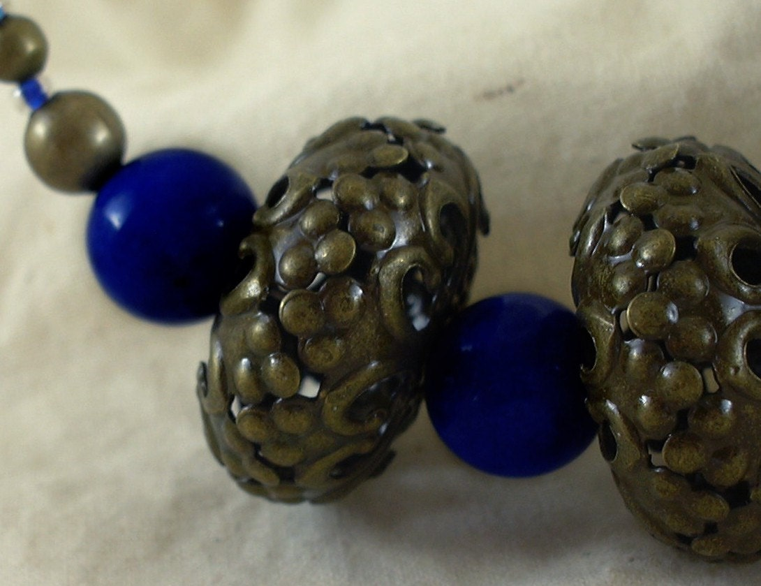 Sapphire blue stone bead, brass rondelles and round beads necklace