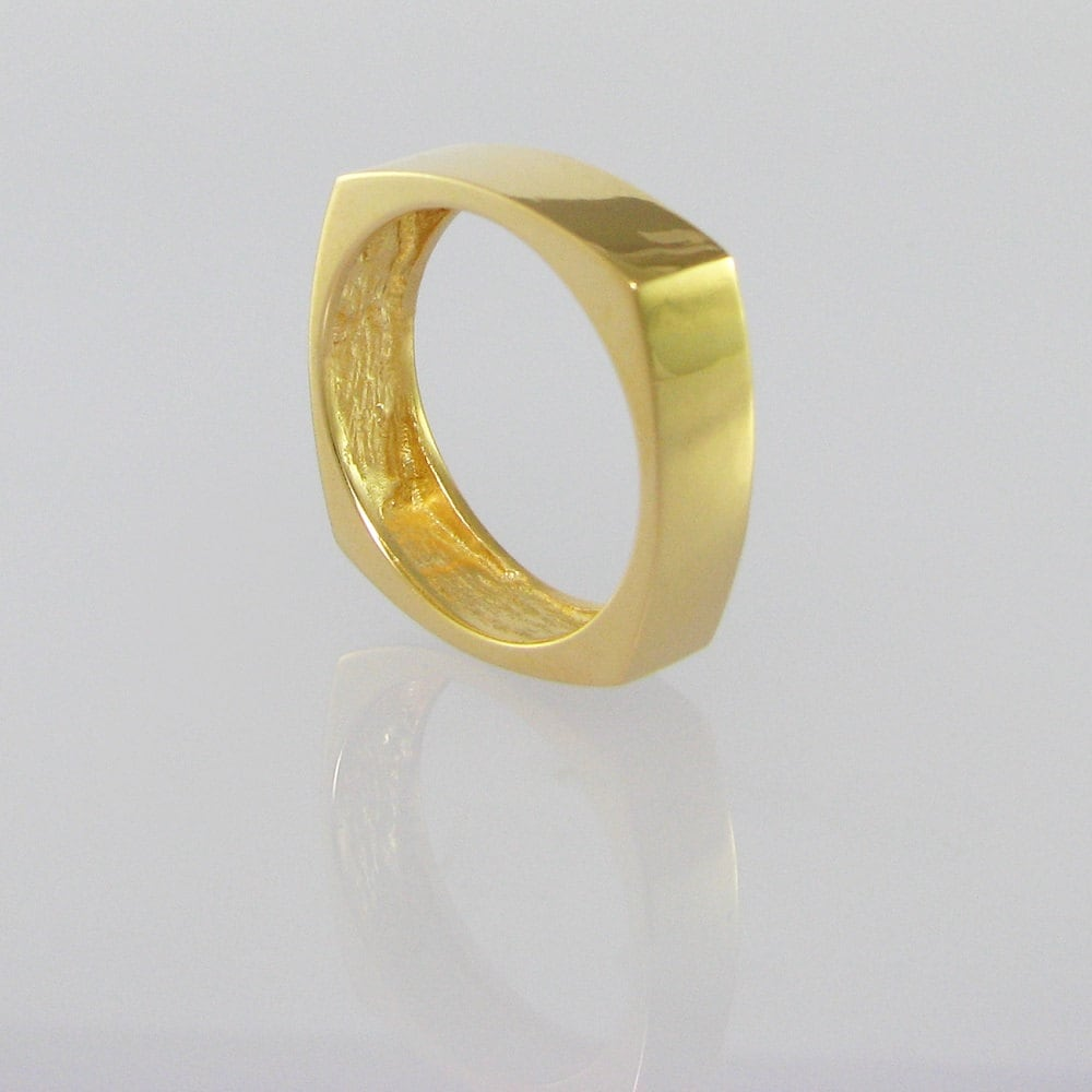 Funky square unique gold wedding ring geometric by for Funky wedding rings