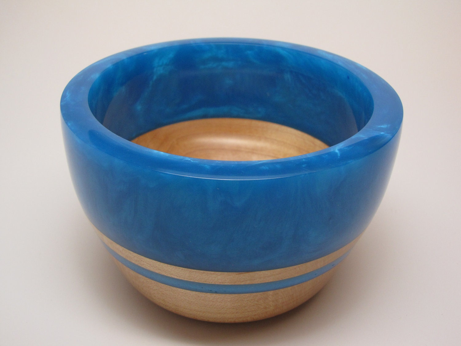 Hard Wood Maple Bowl with a Lite-Blue Pearl Top & Lite-Blue Inlay
