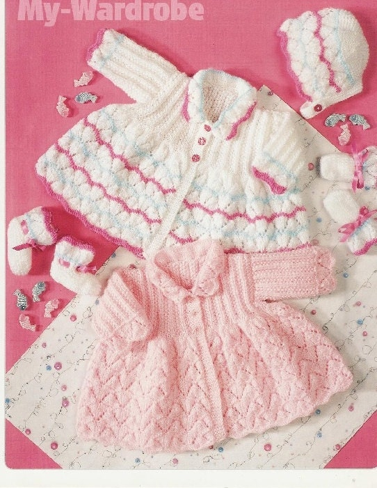 baby knitting pattern for  matinee jacket bonnet  and booties14 18 in chest  dk yarn