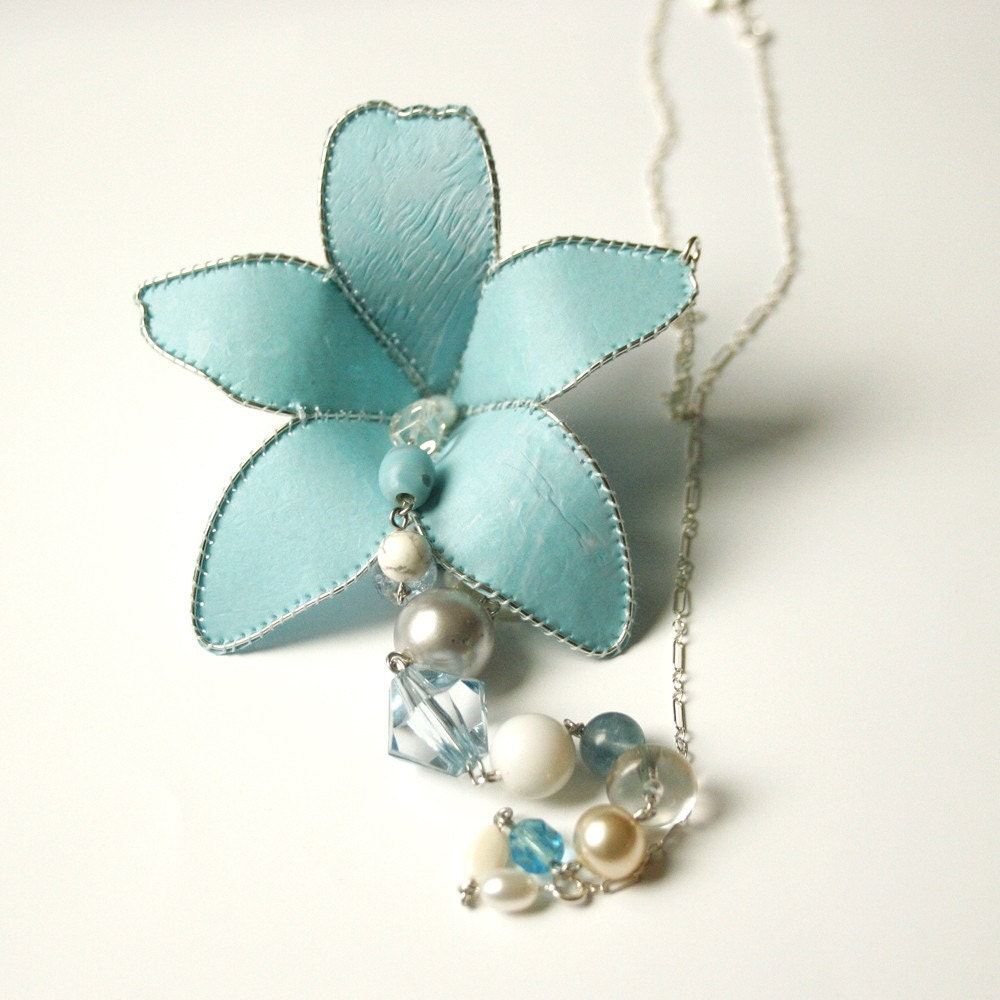 Lily Necklace in Light Blue and Sterling Silver