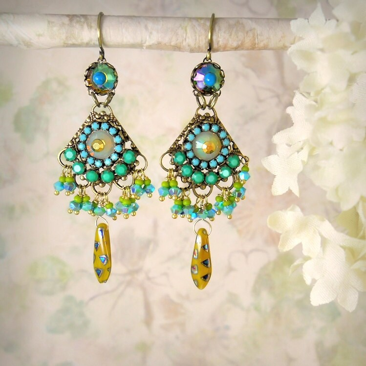 Sultana - Chandelier Earrings, Turquoise, Jade Green, Mustard, Chartreuse, Vivid Rhinestone, Exotic, Gypsy Bohemian, Garden Party Wedding - MiaMontgomery