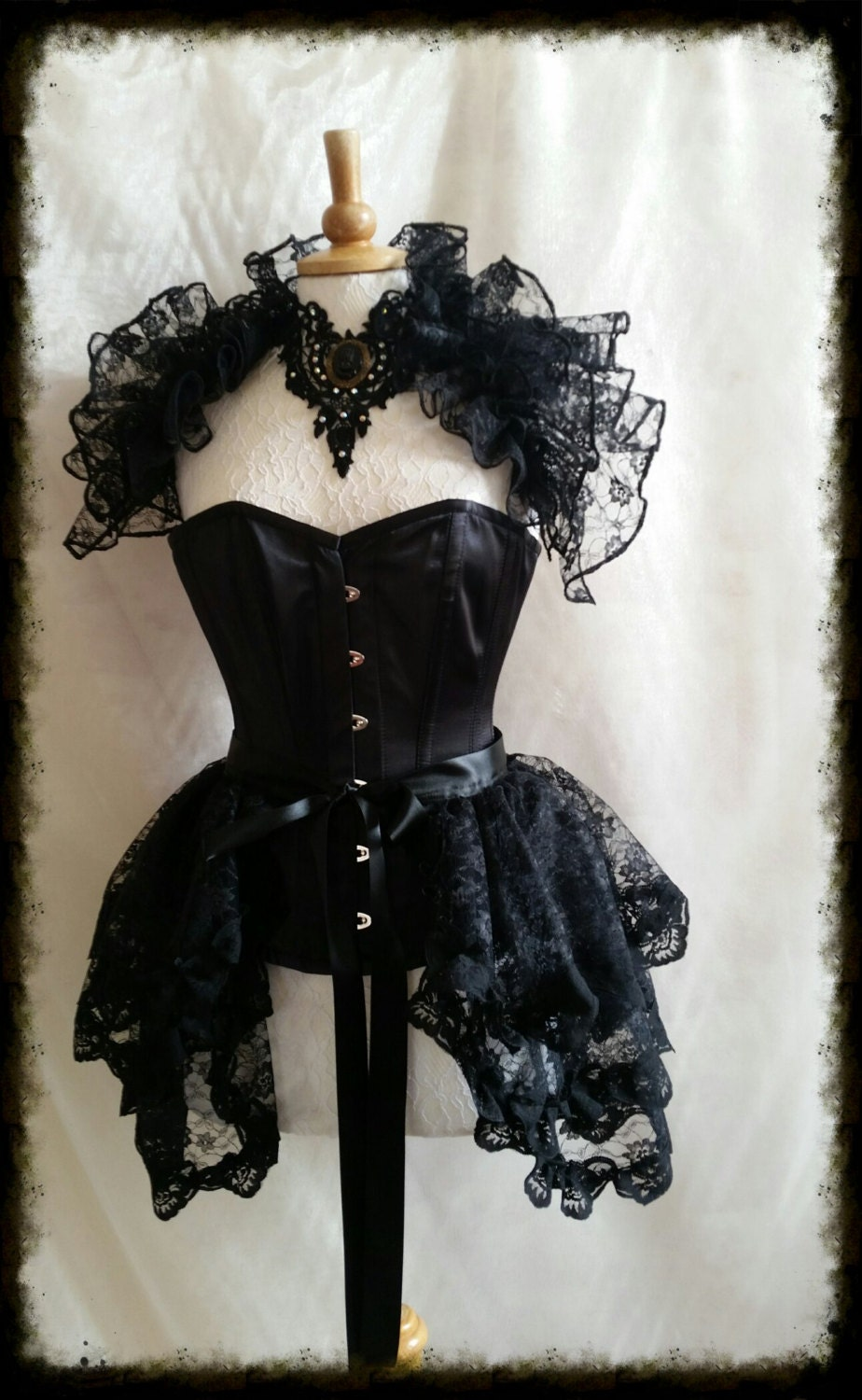 LACE EBONETTA Steampunk Opulent Opera Shrug Burlesque Gothic LUXE Decadant By Gothic Burlesque
