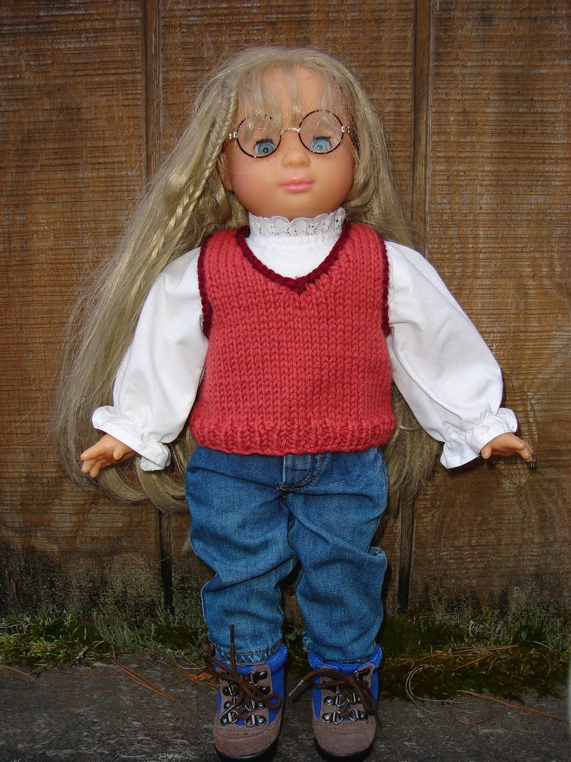 Doll Vest Knitting Pattern : Items similar to 18 inch Doll Knitting Pattern V-Neck Vest ...