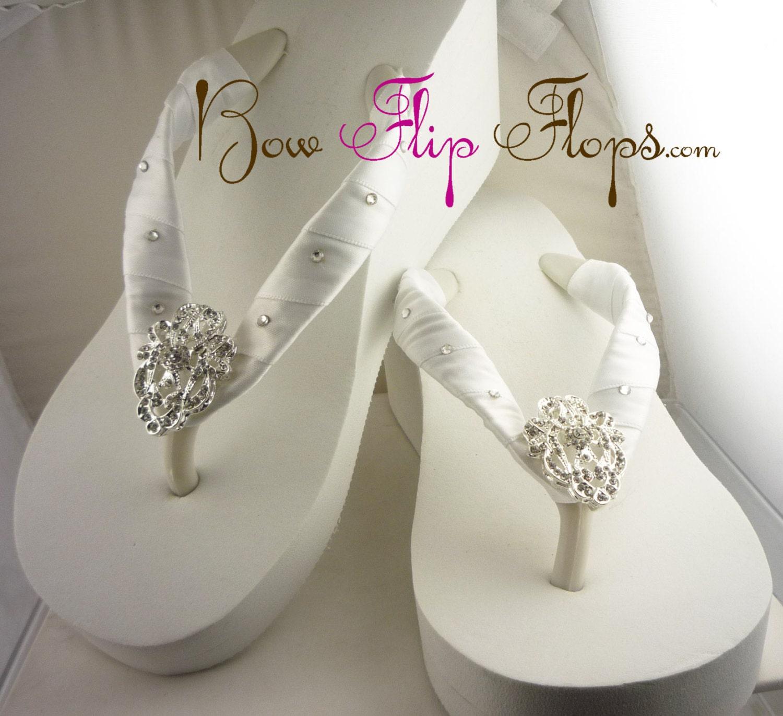 Wedding Wedges For Bride: Bridal Wedge Flip Flops Ivory Lace Rhinestone By