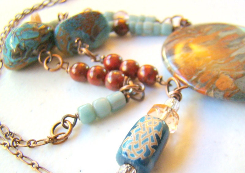Jasper stone statement necklace in blue, peach, rust and bronze with trade beads - ElephantBeads