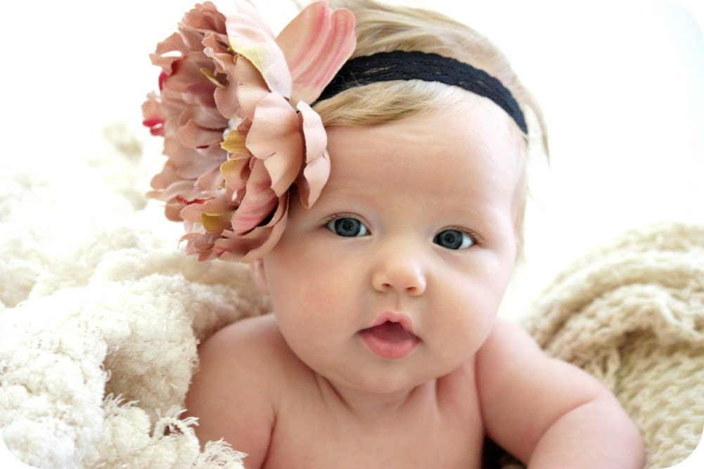 Elegant Mauve Flower with Super Soft Black Lace Headband