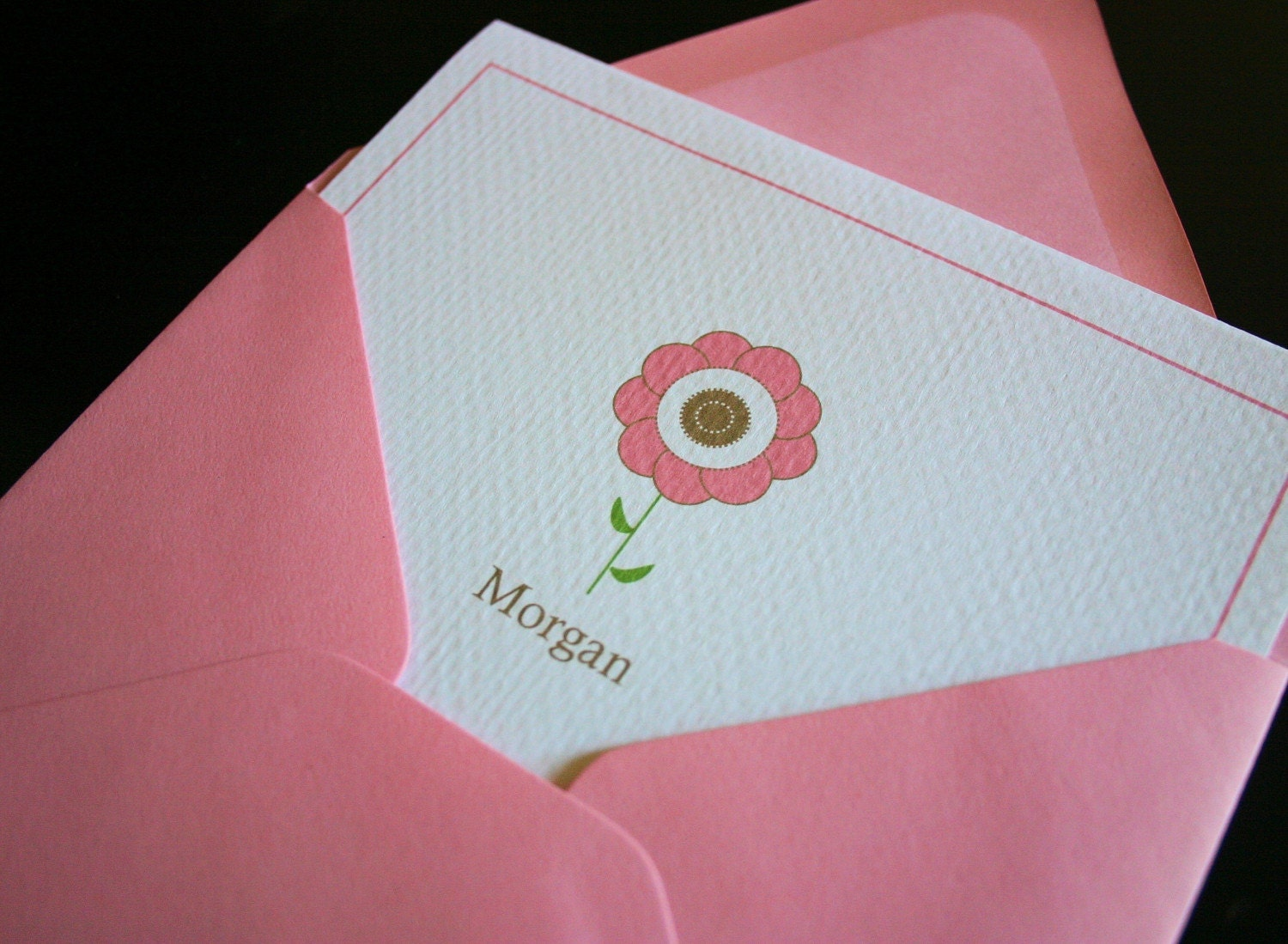 Custom Pink Flower Kiddie Cards- set of 10 w/envelopes