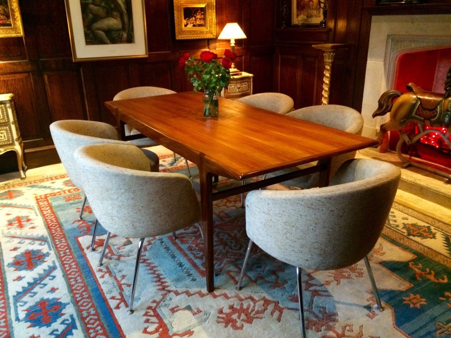 Gorgeous Antique Retro 1970s Younger Teak Dining Table Six Retro Chairs