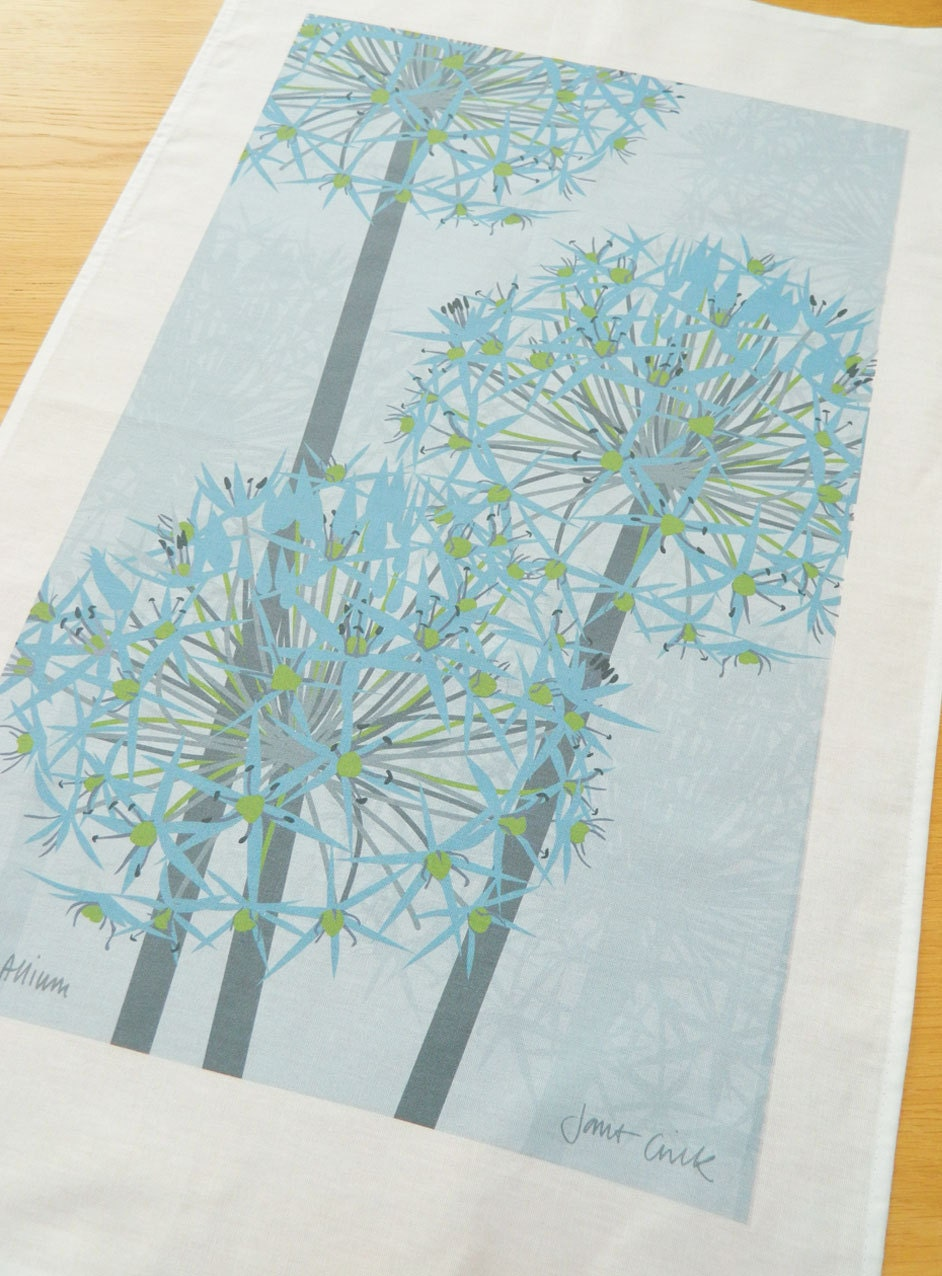 Winter Allium 100% Cotton Tea Towel - READY TO SHIP - JaneCrick