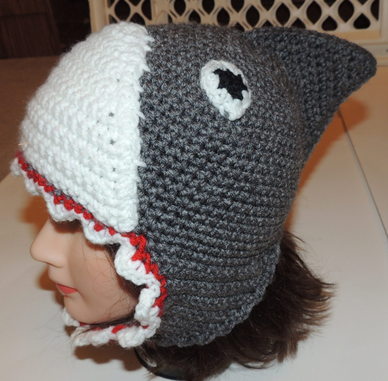 PDF Crochet Pattern for Shark Hat Child Size by dianelangan