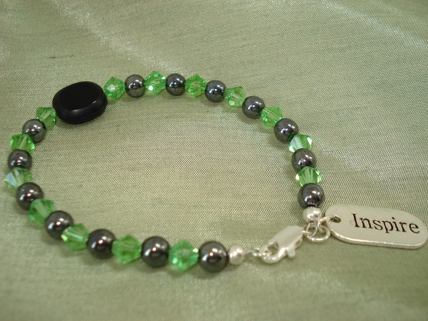 Inspire Green and Black Beaded Bracelet