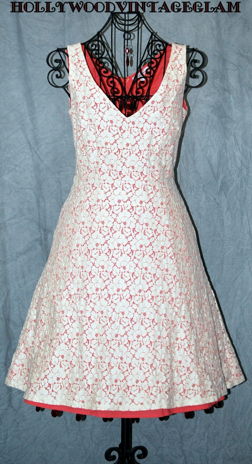 RESERVED LISTING FOR BELINDA SALE Vintage Full Circle Peaches N Cream Dress