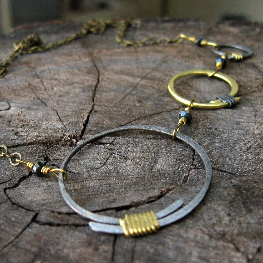 Steel and Brass Circles Necklace