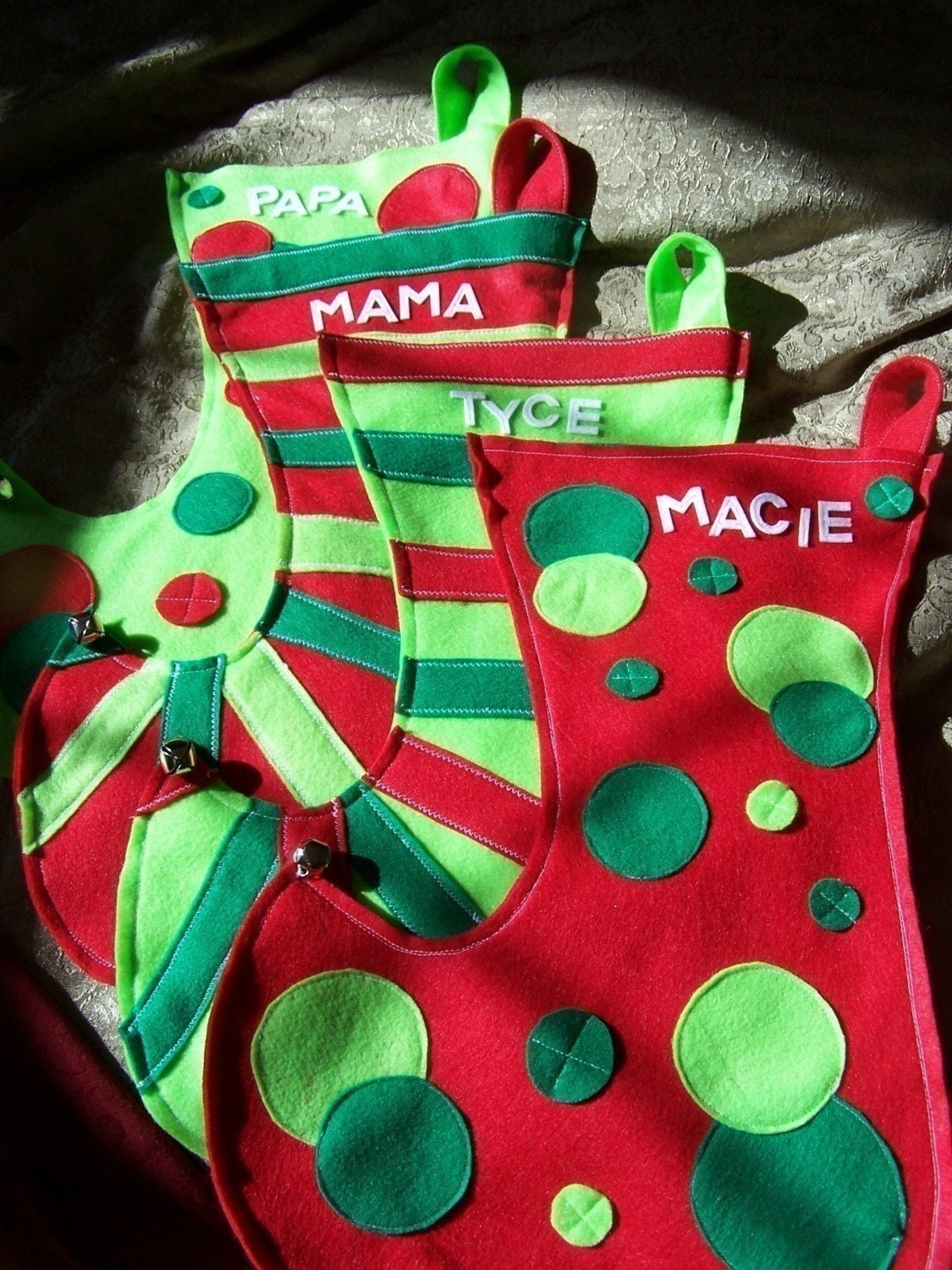 4 for 3 deal Mega Personalized  Elf  Stocking set of 4