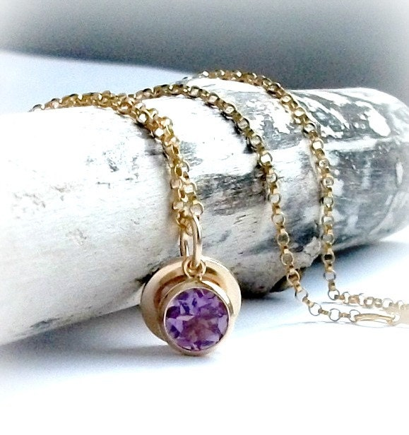 Amethyst Charm Necklace Bezel Set In Gold On Gold Filled Chain With Gold filled Disc Tag