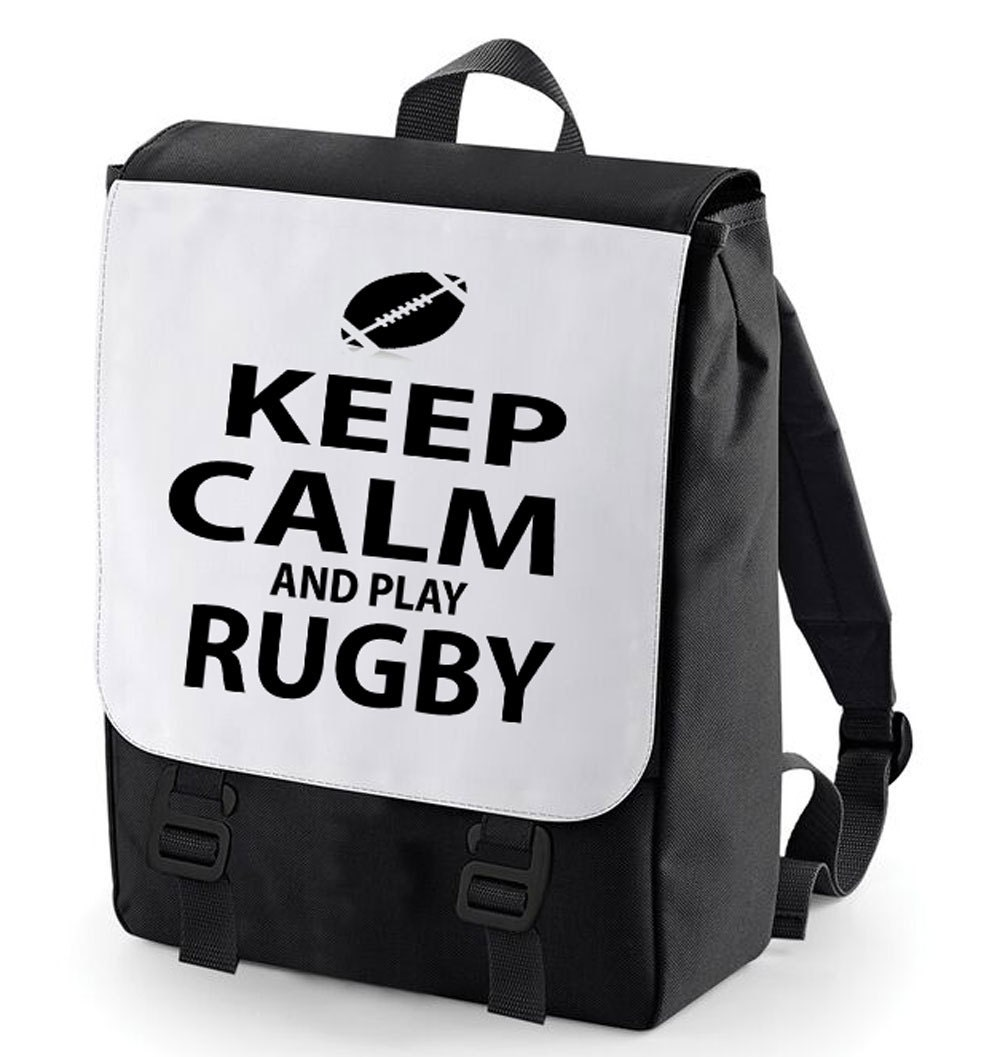 Keep Calm and play Rugby Backpack Bag perfect for school (Bagbase)