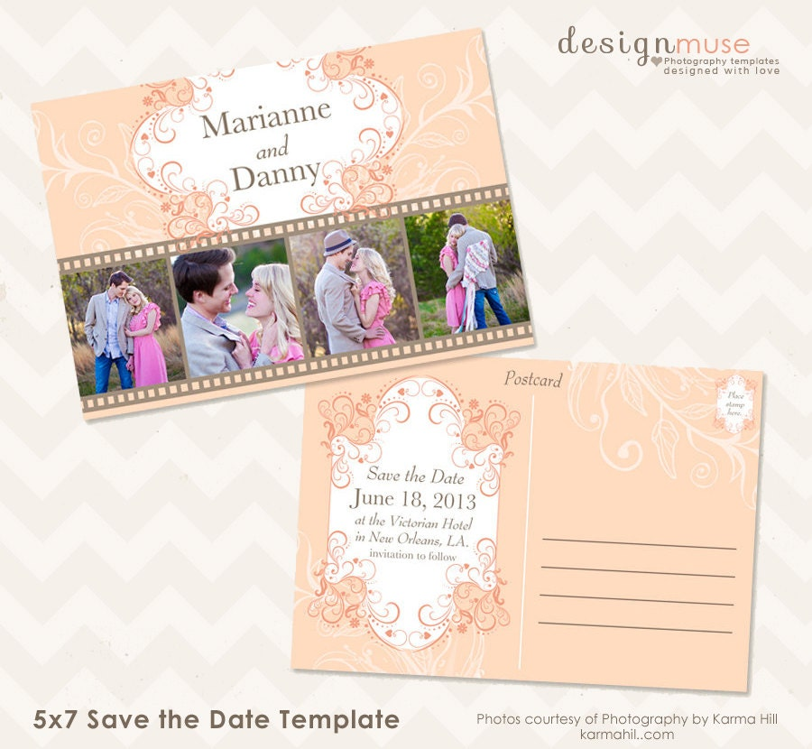 save the date 5x7 photo card template by birchandivydesign. Black Bedroom Furniture Sets. Home Design Ideas