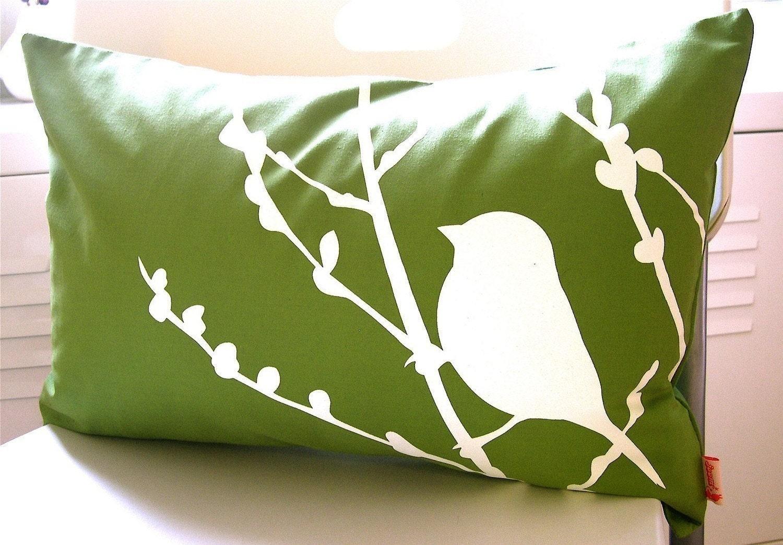 Olive Green Bird on Cherry Blossom Pillow