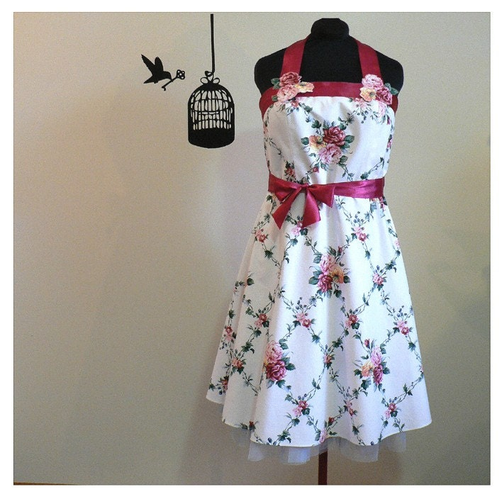 SALE, 1950s style ROSES and IVY TRELLIS convertible HALTER DRESS, XL