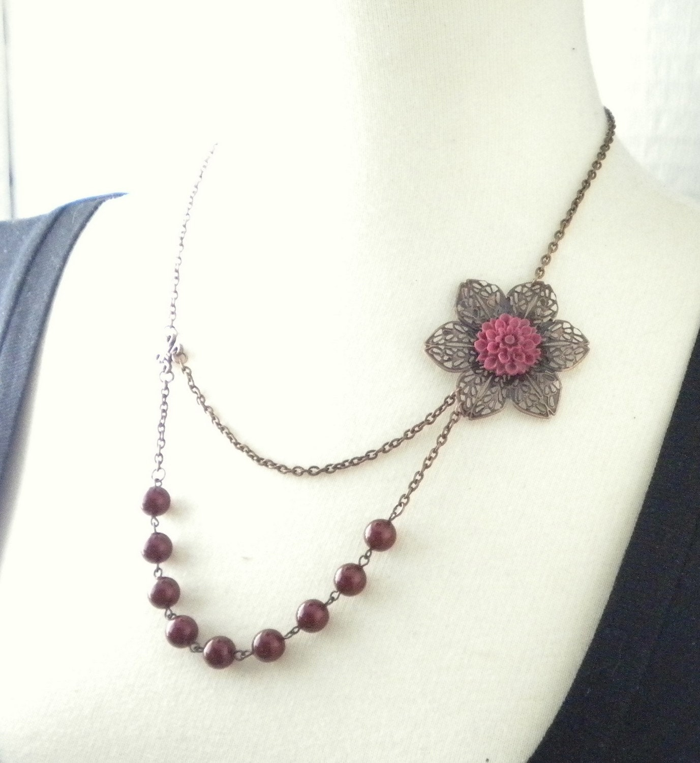 Merlot Double Stranded Posy Necklace
