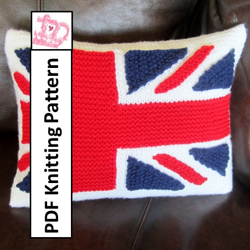 Knitting Pattern Union Jack Cushion Cover : PDF KNITTING PATTERN Union Jack British Flag by LadyshipDesigns