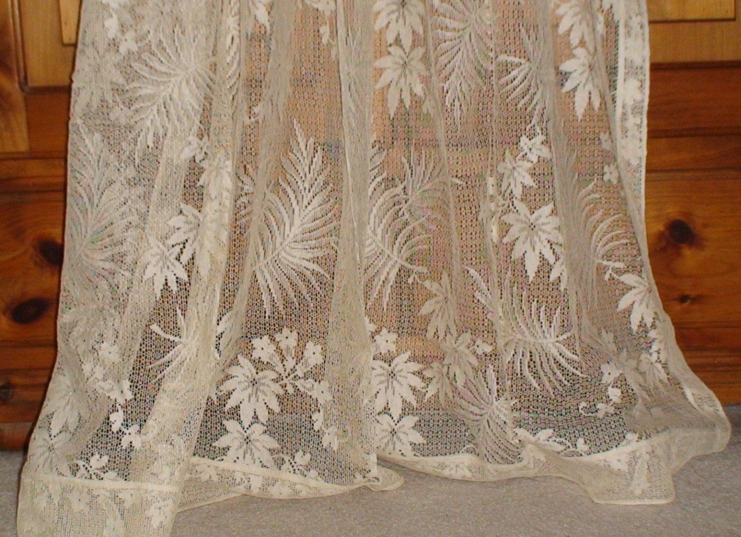 vintage 1930s ivory lace curtain by vintageheartstrings on