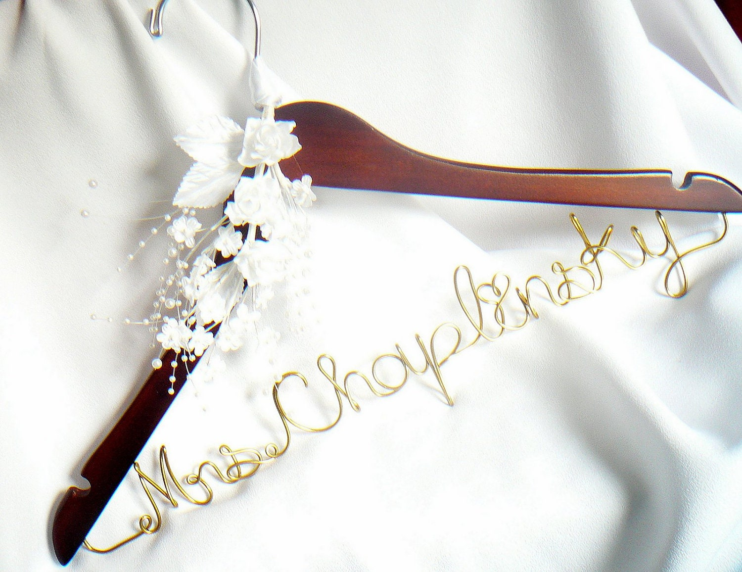Engagement gift bride wedding dress hanger by homesandweddings for Wedding dress personalized hanger