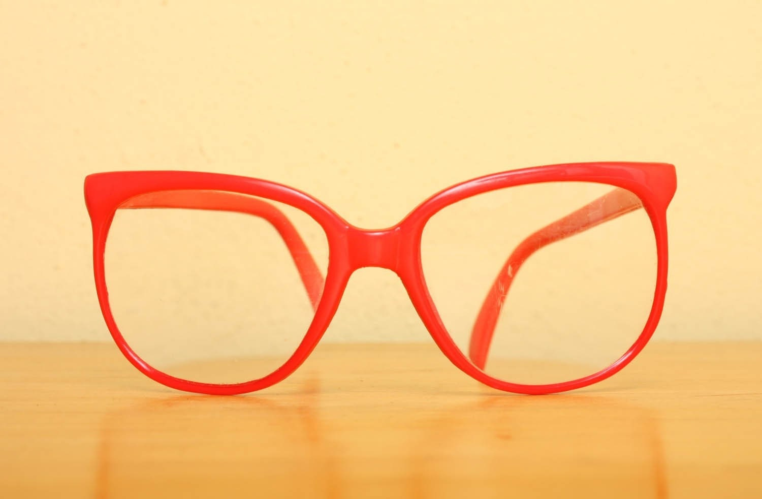 Vintage 1980s Oversized Plastic Glasses in Bright Pinkish Coral Plastic