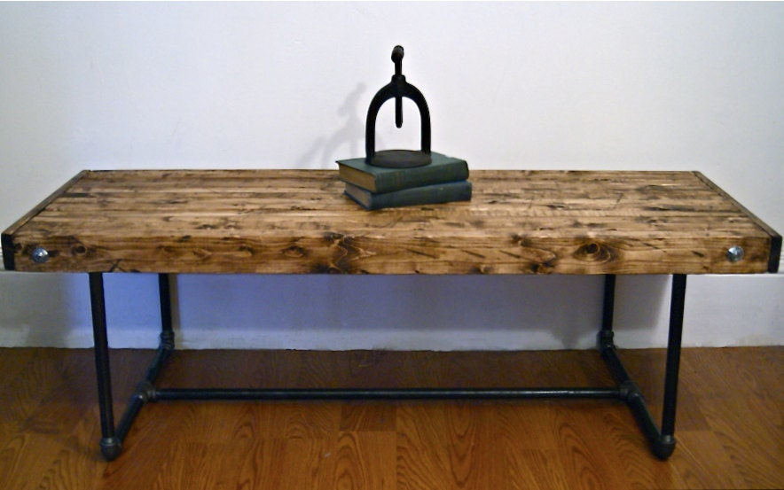 Items Similar To Industrial Butcher Block Coffee Table On Etsy