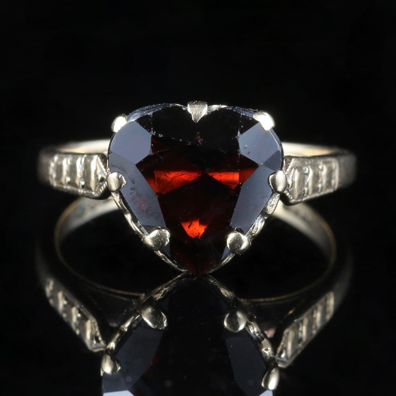 Antique Victorian Garnet Heart Ring
