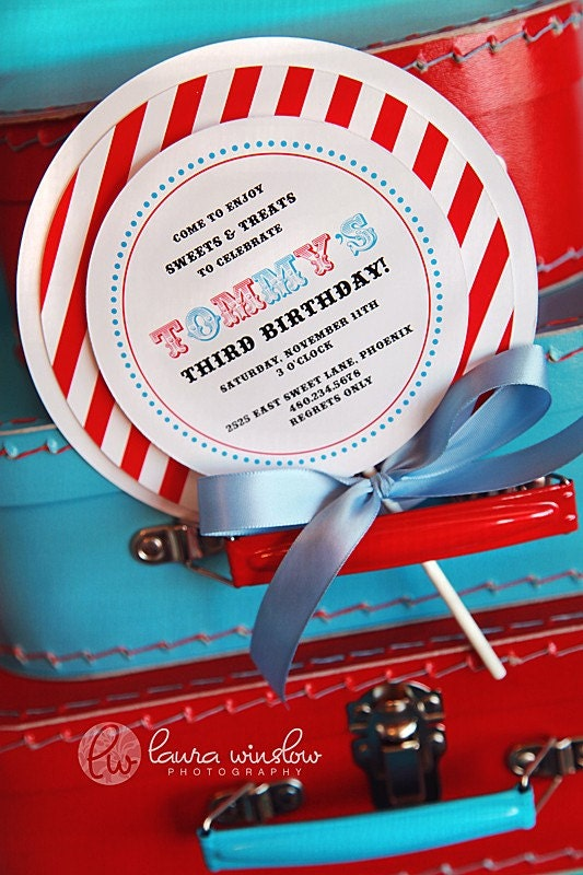 PRINTABLE INVITATIONS Top Layer and Stripe Paper for Lollipop Party Invitations BOY - The TomKat Studio