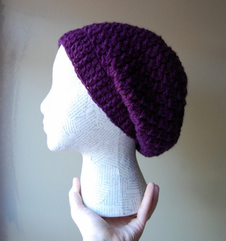 RESERVED FOR VagabondButtons crocheted dark purple slouchy hat