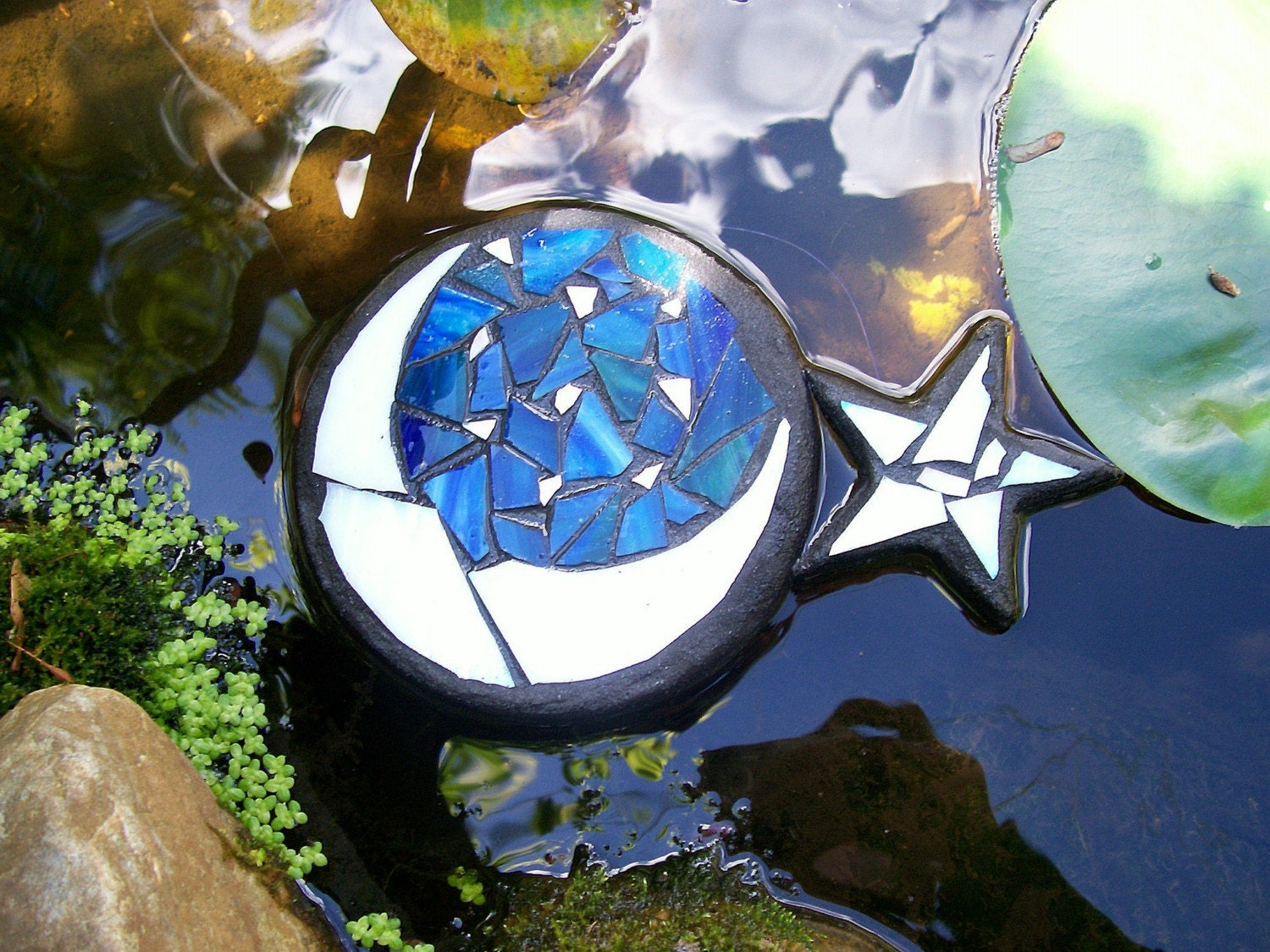 Moon and Star, Floating Glass Art Sculpture, for Water Gardens, Outdoor Rooms, Home Decor