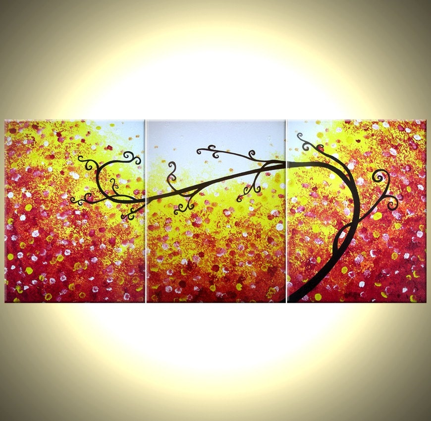 Abstract RED Tree ORIGINAL Landscape PAINTING by Dan Lafferty - 24 X 54 - ONE DAY SALE