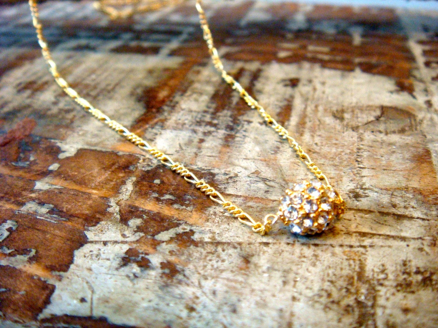 Teeny, Tiny Diamond Ball Drop Necklace